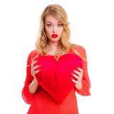 Woman holding Valentines heart Royalty Free Stock Photo