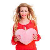 Woman holding Valentines heart Stock Photo
