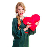 Woman holding Valentines heart Stock Image