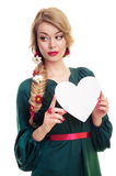 Woman holding Valentines heart Royalty Free Stock Photos