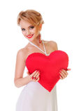 Woman holding Valentines heart Stock Photos