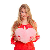 Woman holding Valentines heart Royalty Free Stock Images