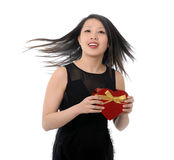 woman holding Valentines Heart Shape Box Royalty Free Stock Photos