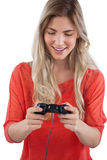 Woman holding video games joystick Royalty Free Stock Photography