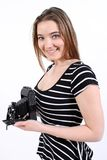 Woman holding a vintage camera Royalty Free Stock Photo