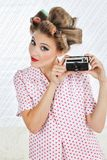 Woman Holding Vintage Camera Stock Photography