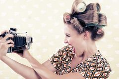 Woman holding a Vintage Camera Stock Image
