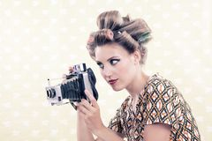 Woman holding Vintage 4x6 Film Camera Stock Images