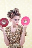 Woman Holding Vinyl Record Stock Photography