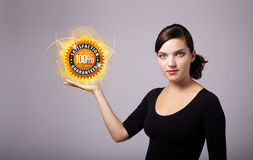 Woman holding virtual business sign Royalty Free Stock Photo