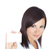 Woman holding visit card isolated over white Royalty Free Stock Photography