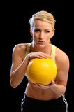 Woman Holding Volleyball Stock Images