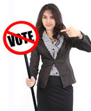 Woman holding vote sign Stock Photography