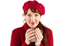 Woman holding a warm cup Royalty Free Stock Photography