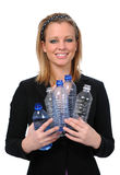 Woman Holding Water Bottles Stock Images