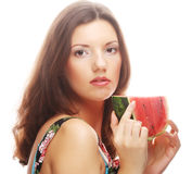 Woman holding watermelon ready to take a bite Stock Image