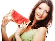 Woman holding watermelon ready to take a bite Stock Photography