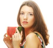 Woman holding watermelon ready to take a bite Royalty Free Stock Images