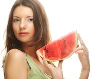 Woman holding watermelon ready to take a bite Royalty Free Stock Photography
