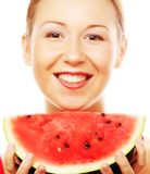 Woman holding watermelon ready to take a bite Royalty Free Stock Photo