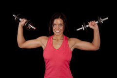 Woman holding weights muscles Royalty Free Stock Photo