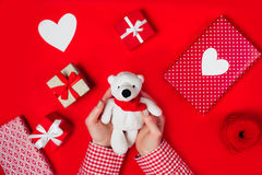 Woman holding white bear on red. Background Royalty Free Stock Photos