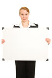 Woman holding a white board. Stock Photography