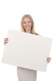 Woman holding white board Stock Image