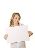 Woman holding white board with copy space Royalty Free Stock Photos