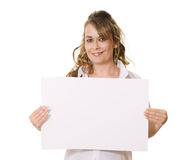 Woman holding white board with copy space Stock Photo