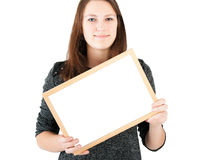 Woman holding white board Royalty Free Stock Images