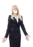 Woman holding a white card, covering her mouth Royalty Free Stock Images