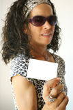 Woman holding white card Royalty Free Stock Photography
