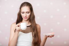 Woman holding white cup royalty free stock images