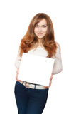 Woman holding white empty form. Stock Photography