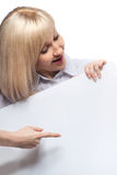 Woman holding white empty paper Stock Images