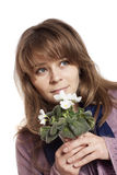 Woman holding white flowers Stock Photography
