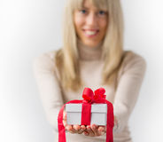Woman holding white gift box Stock Photo