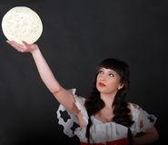 Woman holding white light ball Royalty Free Stock Photo