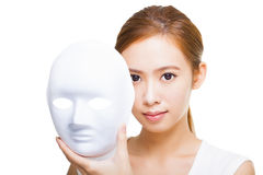 Woman holding white mask for skincare concept Royalty Free Stock Photography