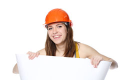Woman holding white paper Royalty Free Stock Images