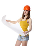 Woman holding white paper Stock Image