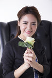 Woman holding a white rose Stock Photos