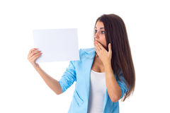 Woman holding white sheet of paper Royalty Free Stock Photography