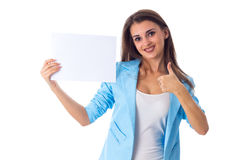 Woman holding white sheet of paper Stock Image
