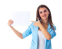 Woman holding white sheet of paper Royalty Free Stock Photos