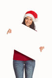 Woman holding a white sign Stock Photos