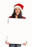 Woman holding a white sign Royalty Free Stock Photos