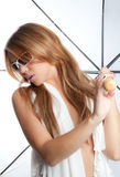 Woman Holding White Umbrella Royalty Free Stock Image