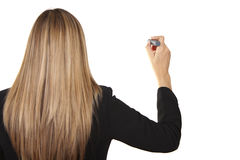 Woman holding whiteboard pen royalty free stock images